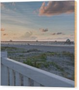Folly Pier Sunrise Wood Print