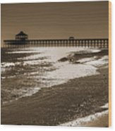 Folly Pier Sunset Wood Print