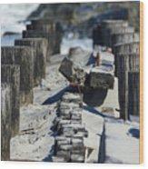 Folly Sea Wall Wood Print