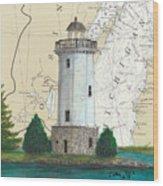 Fon Du Lac Lighthouse Wi Nautical Chart Map Map Wood Print