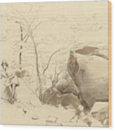Fontainebleau, Figure Leaning Against A Rock Wood Print