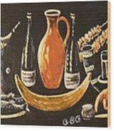 Food And Wine Wood Print