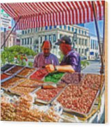 Food Booth In Valparaiso Square-chile Wood Print