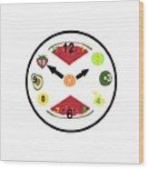 Food Clock Wood Print