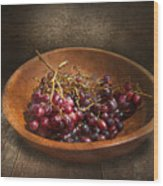 Food - Grapes - A Bowl Of Grapes  Wood Print by Mike Savad