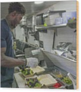 Food Truck Worker Wood Print