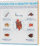 Foods For A Healthy Heart Wood Print
