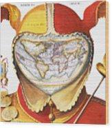 Fools Cap World Map, C1590 Wood Print