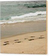 Foot Prints In The Sand.jpg Wood Print