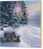 Foot Prints On Snow-port Moody Wood Print