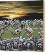 Football Field-notre Dame-navy Wood Print