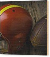 Football Helmet And Football Wood Print