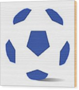 Football Image In Dazzling Blue And White Space Wood Print