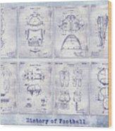 Football Patent History Blueprint Wood Print