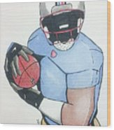 Football Player Wood Print