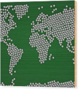 Football Soccer Balls World Map Wood Print