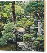 Footbridge Across A Pond, Kyoto Wood Print