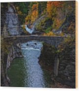 Footbridge At Lower Falls Wood Print