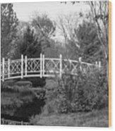 Footbridge In Black And White Wood Print