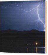 Foothills Lake Lightning Extreme Weather Storm Wood Print