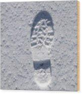 Footprint In Snow Wood Print