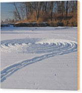 Footprint Snow Ring On A Frozen River In Winter At The Toronto I Wood Print