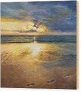 Footprints Wood Print by Helen Parsley