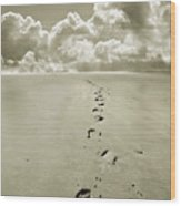 Footprints In Sand Wood Print