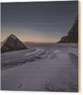 Footprints In Snow Around The Pyramid Rock Wood Print