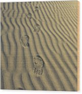 Footprints In The Sand Wood Print by Joe  Palermo