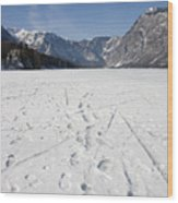 Footprints On A Frozen Lake Wood Print