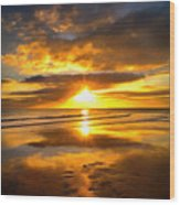 Footsteps  Beneath The Sunset I  Wood Print