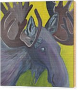 For Purple Mooses Majesty Wood Print by Amy Reisland-Speer