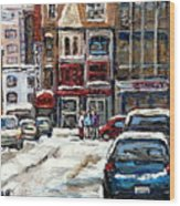 For Sale Original Paintings Montreal Petits Formats A Vendre Downtown Montreal Rue Stanley Cspandau  Wood Print