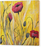 For The Love Of Poppies Wood Print