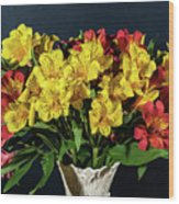 Foral Bouquet Of Red And Yellow Astomelia Wood Print