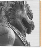 Forbidden City Lion - Black And White Wood Print