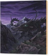 Forbidden Land Of The Beasts Descent Wood Print