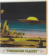 Forbidden Planet In Cinemascope Retro Classic Movie Poster Detailing Flying Saucer Wood Print