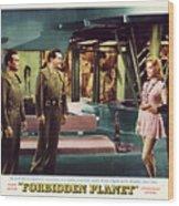 Forbidden Planet In Cinemascope Retro Classic Movie Poster Indoors Wood Print