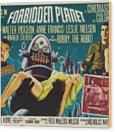 Forbidden Planet In Cinemascope Retro Classic Movie Poster Wood Print