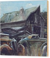Ford Cabriolets Guard the Barn Wood Print