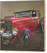 Ford Coupe Cartoon Photo Abstract Wood Print