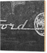 Ford F-100 Emblem On A Rusted Hood Wood Print