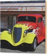 Ford Flaming Hot Rod Wood Print