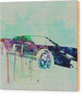 Ford Gt Watercolor 2 Wood Print by Naxart Studio