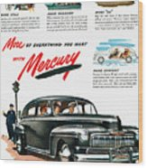 Ford Mercury Ad, 1946 Wood Print