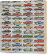 Ford Mustang Timeline History 50 Years Wood Print