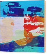 Ford Mustang Watercolor Wood Print by Naxart Studio