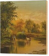 Fording The Stream Wood Print
